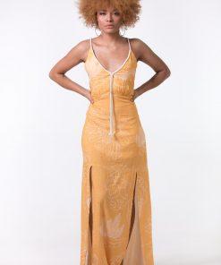 Vestido com alça de cordão e fendas