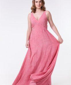 Vestido longo acinturado com pregas